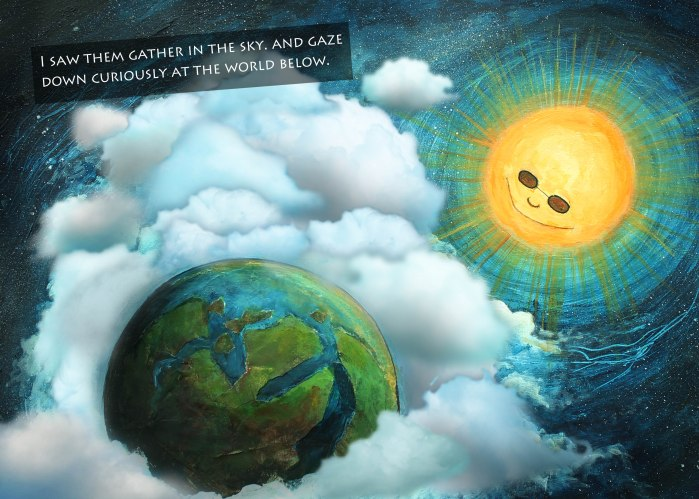 Clouds with sun and earth 01