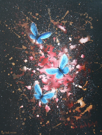 Butterflies blue on red