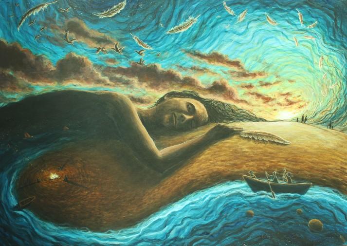 Dawn, acrylics on canvas, 2017
