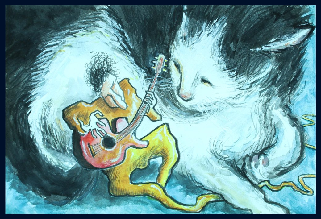 encounter with cat and guitar