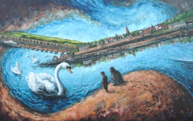 Encounter with Swans, acrylics on canvas, 90 x 60cm