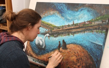 Painting 'Encounter with Swans'